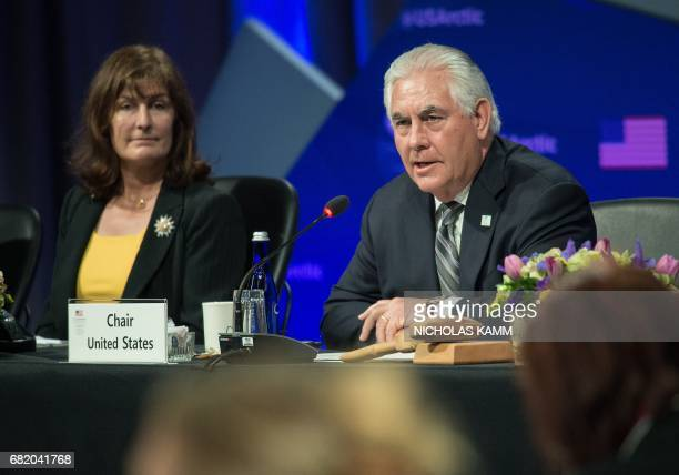 US Secretary of State Rex Tillerson speaks during the plenary session of the Arctic Council meeting in Fairbanks Alaska on May 11 2017 / AFP PHOTO /...