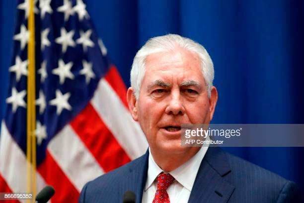 US Secretary of State Rex Tillerson speaks to staff members at the US Mission to the UN on October 26 in Geneva Switzerland Rex Tillerson will hold...