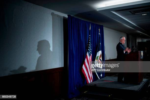 US Secretary of State Rex Tillerson speaks to the press at the Hilton Midtown about an earlier P51 meeting on the Iran Nuclear deal at the United...
