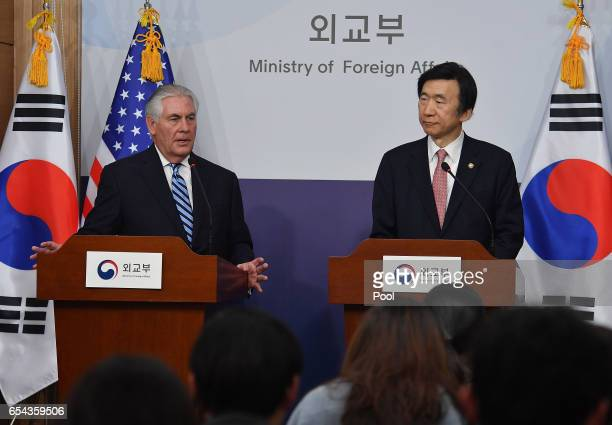 US Secretary of State Rex Tillerson speaks with South Korean Foreign Minister Yun Byungse during a press conference on March 17 2017 in Seoul South...