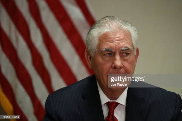 Secretary of State Rex Tillerson speaks with the media after he greeted Chinese President Xi Jinping at Palm Beach International Airport on April 6...