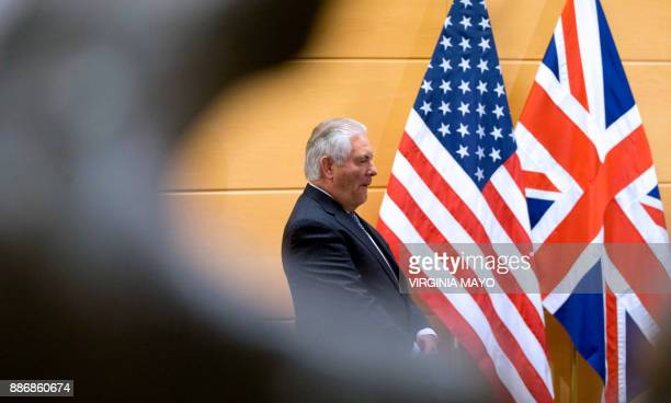 US Secretary of State Rex Tillerson waits for the arrival of British Foreign Secretary prior to a bilateral meeting on the sidelines of a NATO...