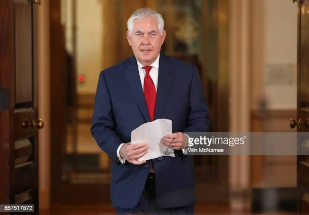S Secretary of State Rex Tillerson walks to a podium before making a statement at the State Department October 4 2017 in Washington DC Tillerson...