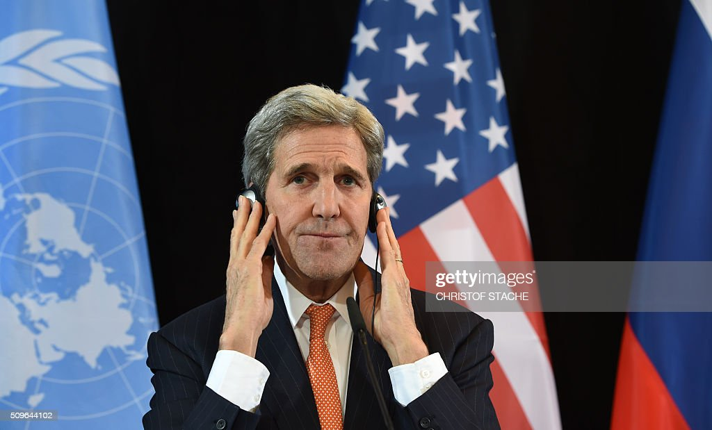 US Secretary of States John Kerry follows a news conference after the International Syria Support Group (ISSG) meeting in Munich, southern Germany, on February 12, 2016. / AFP / Christof STACHE