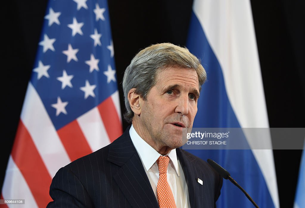 US Secretary of States John Kerry speaks during a news conference after the International Syria Support Group (ISSG) meeting in Munich, southern Germany, on February 12, 2016. / AFP / Christof STACHE
