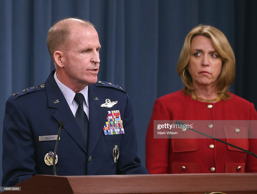Secretary of the Air Force Deborah Lee James (R) and Air Force Global Strike Command (AFGSC) Commander Lt. Gen. Stephen Wilson, speak to the media during a briefing at the Pantagon, on March 27, 2014 in Arlington, Virginia. The Pentagon officials gave an update on the AFGSC Commander directed investigation into allegations of compromised test materials, and the Force Improvement Program.