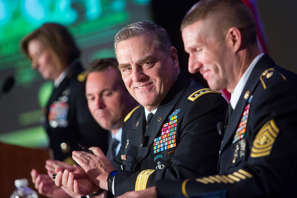 Secretary of the Army Eric Fanning Army Chief of Staff Gen Mark Milley and Army Sgt Major Daniel Dailey speak during the Association of US Army...