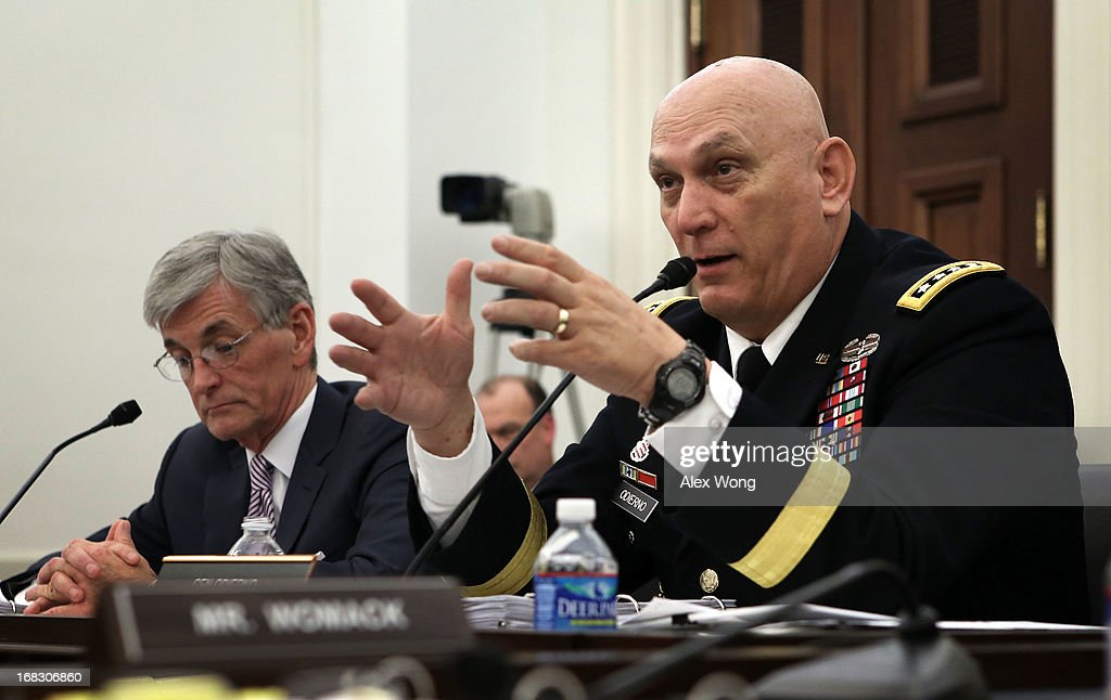 U.S. Secretary of the Army John McHugh (L) and Chief of Staff of the Army Gen. Raymond Odierno (R) testify during a hearing before the Defense Subcommittee of the House Appropriations Committee May 8, 2013 on Capitol Hill in Washington, DC. The subcommittee held the hearing to focus on the budget for the Army.