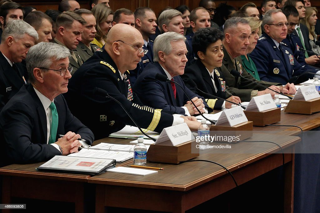 Secretary of the Army John McHugh, Army Chief of Staff Gen. Raymond Odierno, Secretary of the Navy <a gi-track='captionPersonalityLinkClicked' href=/galleries/search?phrase=Ray+Mabus&family=editorial&specificpeople=5862082 ng-click='$event.stopPropagation()'>Ray Mabus</a>, Vice Chief of Naval Operations Adm. <a gi-track='captionPersonalityLinkClicked' href=/galleries/search?phrase=Michelle+Howard+-+Admiral&family=editorial&specificpeople=2163111 ng-click='$event.stopPropagation()'>Michelle Howard</a>, Commandant of the Marine Corps Gen. <a gi-track='captionPersonalityLinkClicked' href=/galleries/search?phrase=Joseph+Dunford&family=editorial&specificpeople=7647695 ng-click='$event.stopPropagation()'>Joseph Dunford</a>, Secretary of the Air Force Deborah Lee James and Air Force Chief of Staff Gen. Mark Welsh III testify before the House Armed Services Committee about the FY2016 National Defense Authorization Budget Request in the Rayburn House Office Building on Capitol Hill March 17, 2015 in Washington, DC. All of the service chiefs and the military secretaries warned the committee that the budget cutting measure called 'sequestration' will continue to adversley affect military rediness and put American lives at risk at home and abroad.