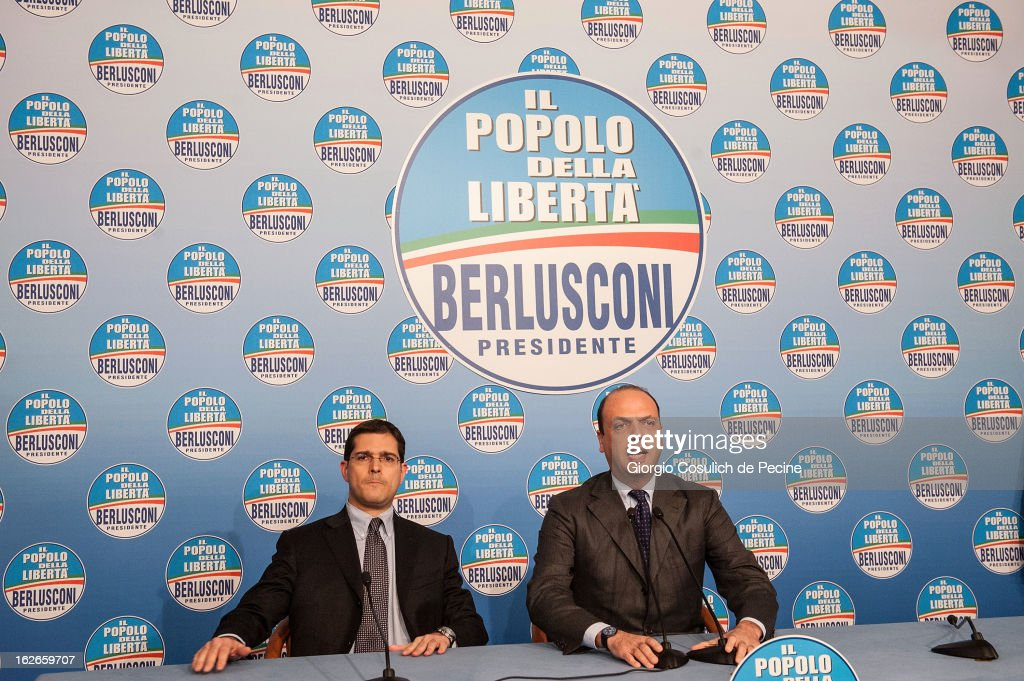 Secretary of the centre-right party PDL, Angelino Alfano (R) and Daniele Capezzone, speak during a press conference at the headquarters on February 25, 2013 in Rome, Italy. Election polls showed Pier Luigi Bersani's centre-left alliance to be a few points ahead of the centre-right bloc led by ex-Prime Minister Silvio Berlusconi and Movimento 5 Stelle (Five Stars Movement) to settle at the third place both at the Chamber of Deputies and at the Senate.