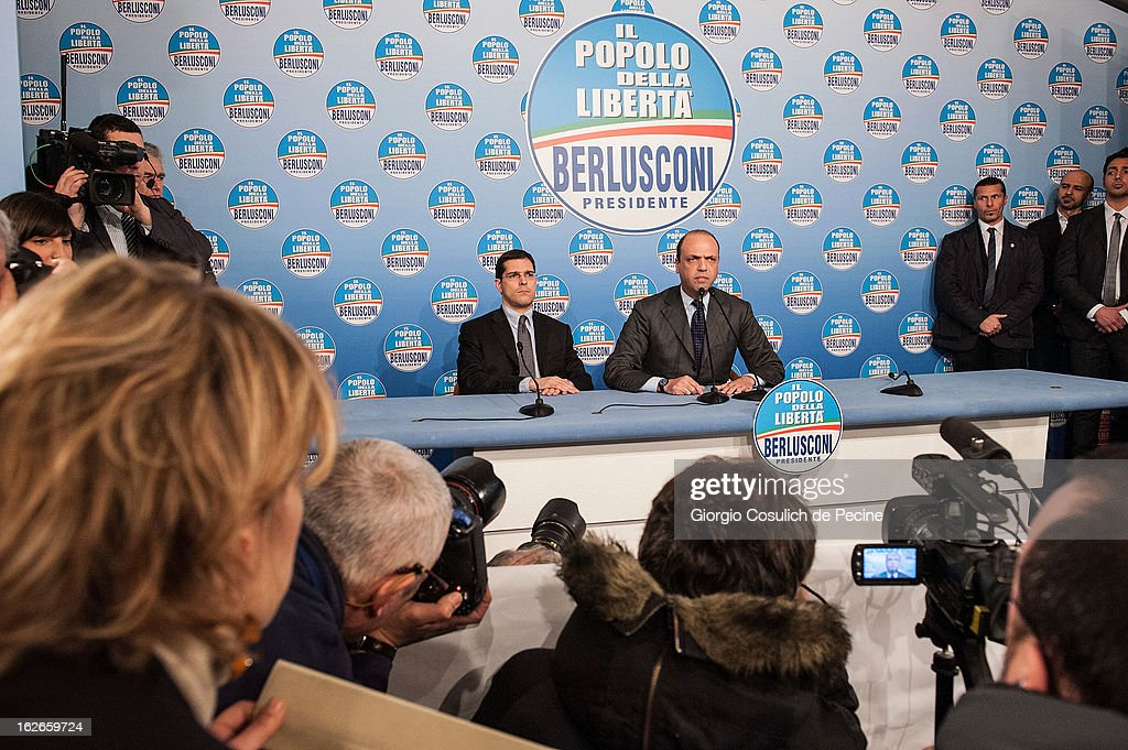 Secretary of the centre-right party PDL, Angelino Alfano (CR) and Daniele Capezzone, speak during a press conference at the headquarters on February 25, 2013 in Rome, Italy. Election polls showed Pier Luigi Bersani's centre-left alliance to be a few points ahead of the centre-right bloc led by ex-Prime Minister Silvio Berlusconi and Movimento 5 Stelle (Five Stars Movement) to settle at the third place both at the Chamber of Deputies and at the Senate.