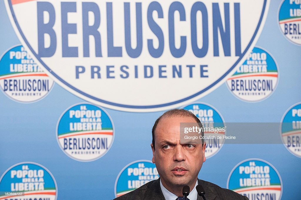 Secretary of the centre-right party PDL, Angelino Alfano, attends a press conference at the headquarters on February 25, 2013 in Rome, Italy. Election polls showed Pier Luigi Bersani's centre-left alliance to be a few points ahead of the centre-right bloc led by ex-Prime Minister Silvio Berlusconi and Movimento 5 Stelle (Five Stars Movement) to settle at the third place both at the Chamber of Deputies and at the Senate.
