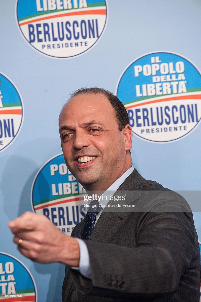 Secretary of the centre-right party PDL, Angelino Alfano, gestures as he attends a press conference at the headquarters on February 25, 2013 in Rome, Italy. Election polls showed Pier Luigi Bersani's centre-left alliance to be a few points ahead of the centre-right bloc led by ex-Prime Minister Silvio Berlusconi and Movimento 5 Stelle (Five Stars Movement) to settle at the third place both at the Chamber of Deputies and at the Senate.