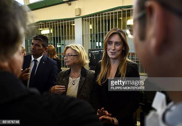 Secretary of the Council of Ministers Maria Elana Boschi talks with lawyers next to Uruguayan vicepresident Raul Sendic during the trial of South...