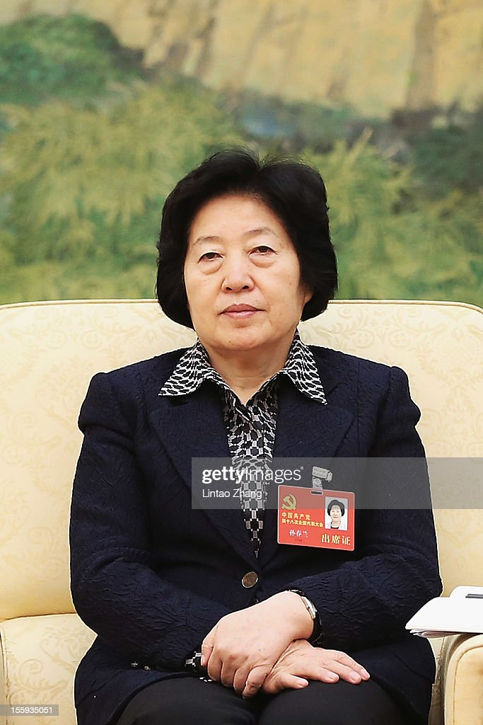 Secretary of the CPC Fujian Committee Sun Chunlan attends a meeting of the 18th Communist Party Congress at the Great Hall of the People on November 9, 2012 in Beijing, China. The Communist Party Congress will convene from November 8-14 and will determine the party's next leaders.