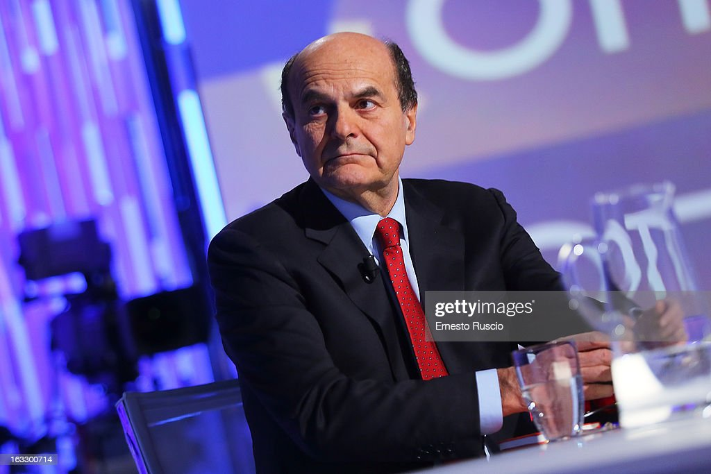 Secretary of the Democratic Party (PD) Pierluigi Bersani and Lilli Gruber attend 'Otto e Mezzo' at La7 Studios on March 7, 2013 in Rome, Italy.