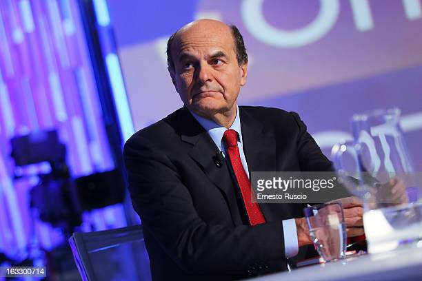 Secretary of the Democratic Party Pierluigi Bersani and Lilli Gruber attend 'Otto e Mezzo' at La7 Studios on March 7 2013 in Rome Italy