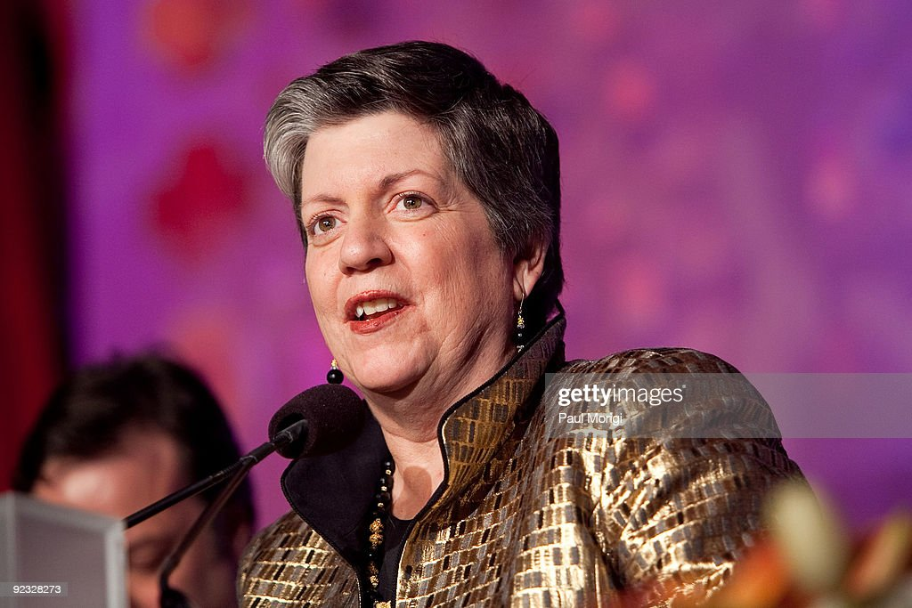 Secretary of the Department of Homeland Security <a gi-track='captionPersonalityLinkClicked' href=/galleries/search?phrase=Janet+Napolitano&family=editorial&specificpeople=589781 ng-click='$event.stopPropagation()'>Janet Napolitano</a> makes a few remarks after receiving the 2009 NIAF Special Achievement Award for Public Service at The National Italian American Foundation's 34th Anniversary Awards Gala at the Hilton Hotel on October 24, 2009 in Washington, DC.