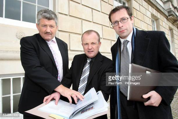 Secretary of the George Coulter Gordon Best Chairman and Ciaran Fox Executive officer arriving at Stormont Belfast
