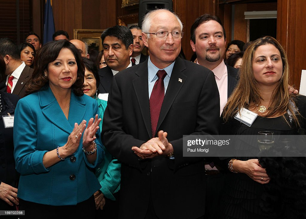 Secretary Of The Interior <a gi-track='captionPersonalityLinkClicked' href=/galleries/search?phrase=Ken+Salazar&family=editorial&specificpeople=228558 ng-click='$event.stopPropagation()'>Ken Salazar</a> (C) and Secretary of Labor Hilda Solis (L) attend a reception to recognize The National Park Service and The American Latino Initiative at the Secretary of the Interior's Suite at the Department of the Interior on January 18, 2013 in Washington, DC.