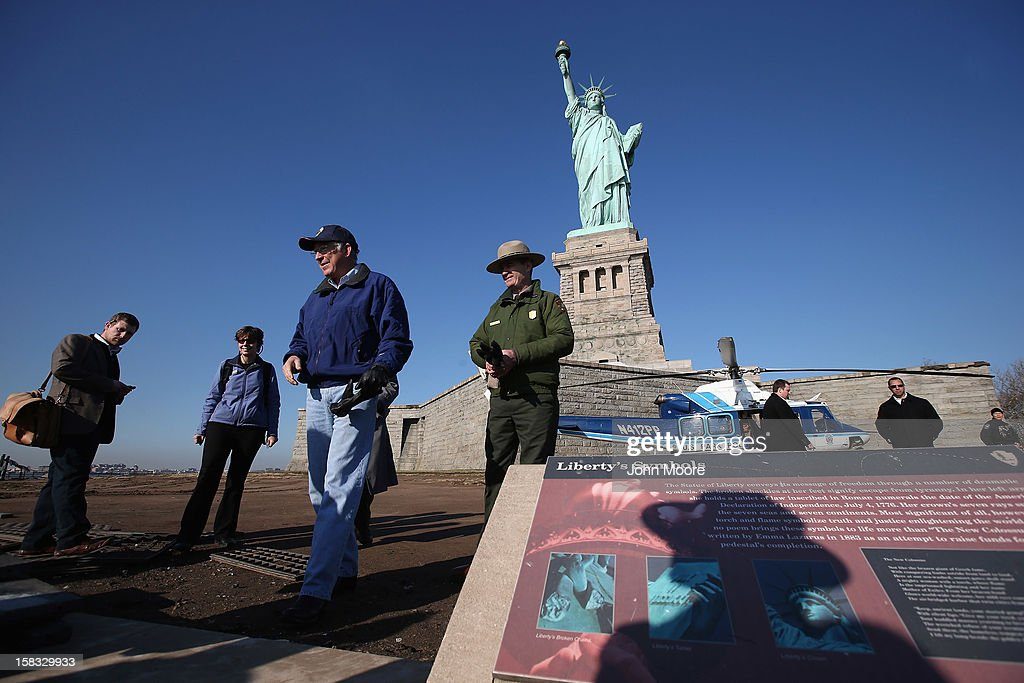 U.S. Secretary of the Interior Ken Salazar inspects damage to the grounds of the Statue of Liberty which, remains closed to the public six weeks after Hurricane Sandy on December 13, 2012 in New York City. The storm caused extensive damage to National Park Service facilities on Liberty Island, although the statue itself remained unscathed. Salazar toured the island Thursday while visiting the area to see damage caused by the storm.
