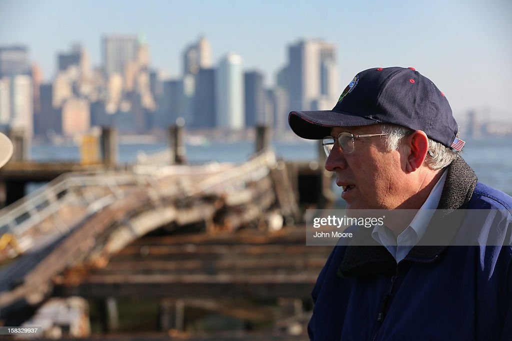 U.S. Secretary of the Interior <a gi-track='captionPersonalityLinkClicked' href=/galleries/search?phrase=Ken+Salazar&family=editorial&specificpeople=228558 ng-click='$event.stopPropagation()'>Ken Salazar</a> inspects dock damage at the Statue of Liberty which, remains closed to the public six weeks after Hurricane Sandy on December 13, 2012 in New York City. The storm caused extensive damage to National Park Service facilities on Liberty Island, although the statue itself remained unscathed.