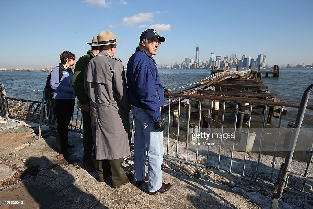 U.S. Secretary of the Interior Ken Salazar inspects dock damage at the Statue of Liberty which, remains closed to the public six weeks after Hurricane Sandy on December 13, 2012 in New York City. The storm caused extensive damage to National Park Service facilities on Liberty Island, although the statue itself remained unscathed.