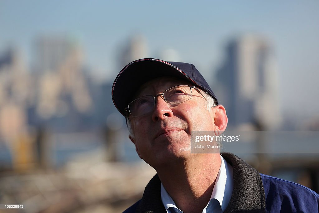 U.S. Secretary of the Interior Ken Salazar looks to the Statue of Liberty which, remains closed to the public six weeks after Hurricane Sandy on December 13, 2012 in New York City. The storm caused extensive damage to National Park Service facilities on Liberty Island, although the statue itself remained unscathed. Salazar toured the island Thursday while visiting the area to see damage caused by the storm.