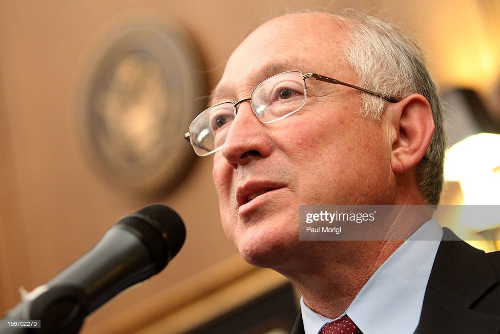 U.S. Secretary Of The Interior <a gi-track='captionPersonalityLinkClicked' href=/galleries/search?phrase=Ken+Salazar&family=editorial&specificpeople=228558 ng-click='$event.stopPropagation()'>Ken Salazar</a> makes a few remarks a reception to recognize The National Park Service and The American Latino Initiative at the Secretary of the Interior's Suite at the Department of the Interior on January 18, 2013 in Washington, DC.