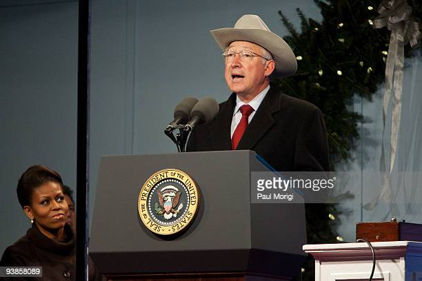 S Secretary of the Interior Ken Salazar makes a few remarks at the 2009 National Christmas Tree Lighting Ceremony and the opening ceremonies for the...