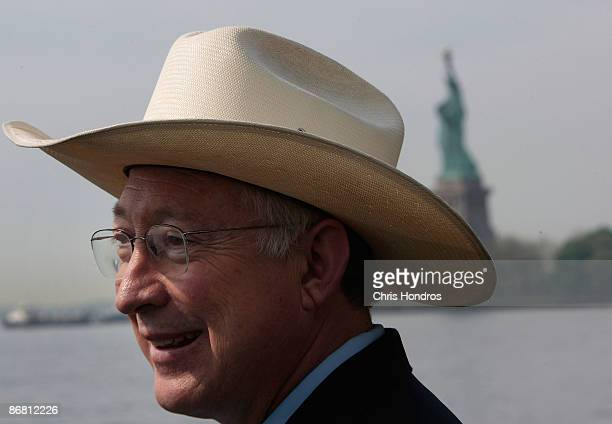 Secretary of the Interior Ken Salazar smiles after a press conference near the Statue of Liberty May 8 2009 on Ellis Island in New York City Salazar...