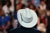 Secretary of the Interior Ken Salazar speaks on stage during day one of the Democratic National Convention at Time Warner Cable Arena on September 4...