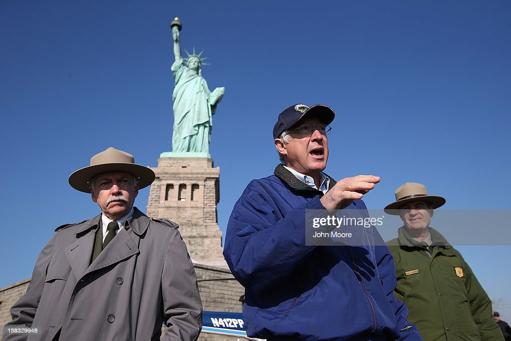 U.S. Secretary of the Interior Ken Salazar speaks to the media at the Statue of Liberty which, remains closed to the public six weeks after Hurricane Sandy on December 13, 2012 in New York City. The storm caused extensive damage to National Park Service facilities on Liberty Island, although the statue itself remained unscathed.