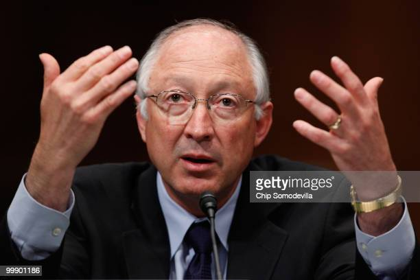 S Secretary of the Interior Ken Salazar testifies about the government response to the oil spill in the Gulf of Mexico before the Senate Environment...