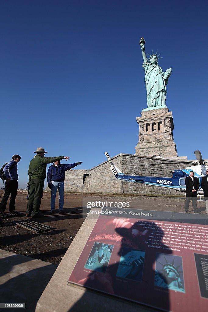 U. S. Secretary of the Interior Ken Salazar tours the Statue of Liberty which, remains closed to the public six weeks after Hurricane Sandy on December 13, 2012 in New York City. The storm caused extensive damage to National Park Service facilities on Liberty Island, although the statue itself remained unscathed. Salazar toured the island Thursday while visiting the area to see damage caused by the storm.