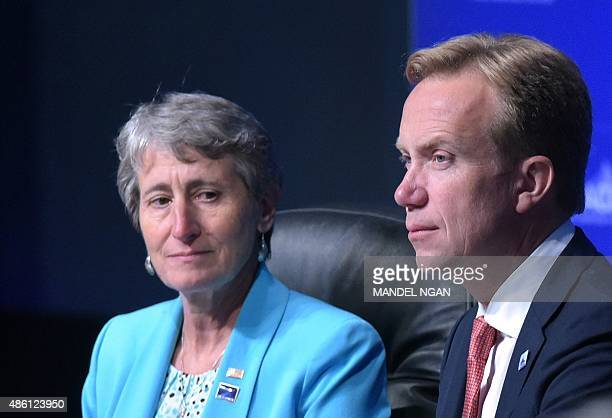 US Secretary of the Interior Sally Jewell and Norway's Foreign Minister Borge Brende wait for an address by US President Barack Obama at the Global...
