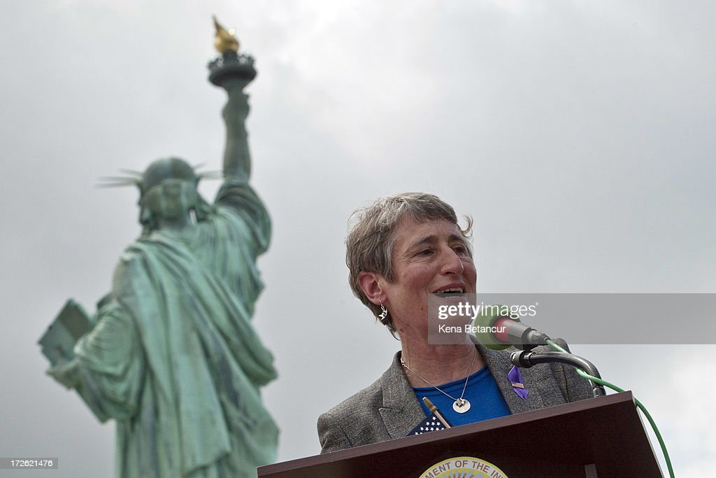 Secretary of the Interior Sally Jewell speaks during the reopening ceremony of the Statue of Liberty on the first day it is open to the public after Hurricane Sandy on July 4, 2013 on the Liberty Island in New York City. The statue was mostly spared by the storm, but the surrounding infrastructure was badly damaged.
