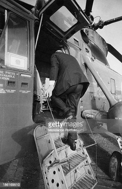 Secretary of the Italian Socialist Party Bettino Craxi getting on board a helicopter 1980s