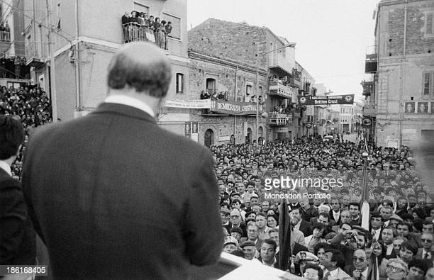 Secretary of the Italian Socialist Party Bettino Craxi holding a meeting in his native town San Fratello 1980s