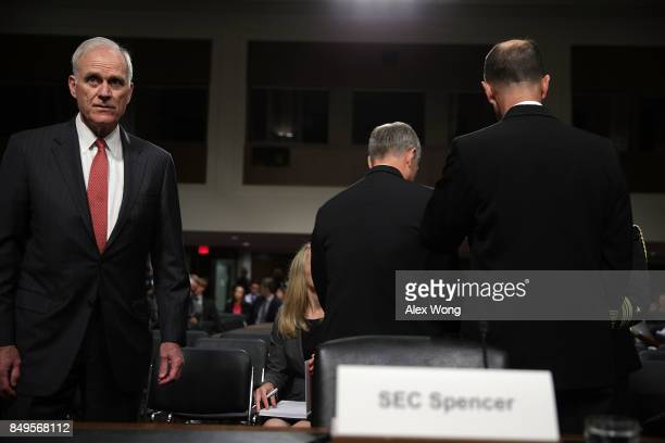 S Secretary of the Navy Richard Spencer waits for the beginning of a hearing before Senate Armed Services Committee September 19 2017 on Capitol Hill...
