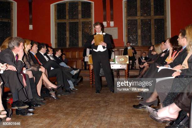 Secretary of the Oxford Union Charlie Sparling starts proceedings in the chamber at the Oxford Union Oxford University prior to the debate 'This...