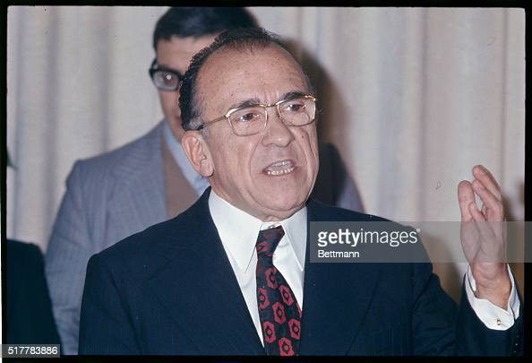 Secretary of the Spanish Communist Party Santiago Carrillo during news conference