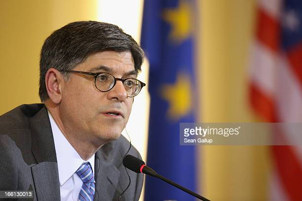 S Secretary of the Treasury Jack Lew and German Finance Minister Wolfgang Schaeuble address the media following talks on April 9 2013 in Berlin...