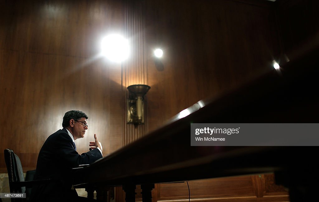 U.S. Secretary of the Treasury <a gi-track='captionPersonalityLinkClicked' href=/galleries/search?phrase=Jack+Lew&family=editorial&specificpeople=2745013 ng-click='$event.stopPropagation()'>Jack Lew</a> testifies before the Senate Appropriation Committee's Financial Services and General Government Subcommittee April 30, 2014 in Washington, DC. Lew testified on the Obama administration's fiscal year 2015 funding request and budget justification for the Department of Treasury and the Internal Revenue Service.