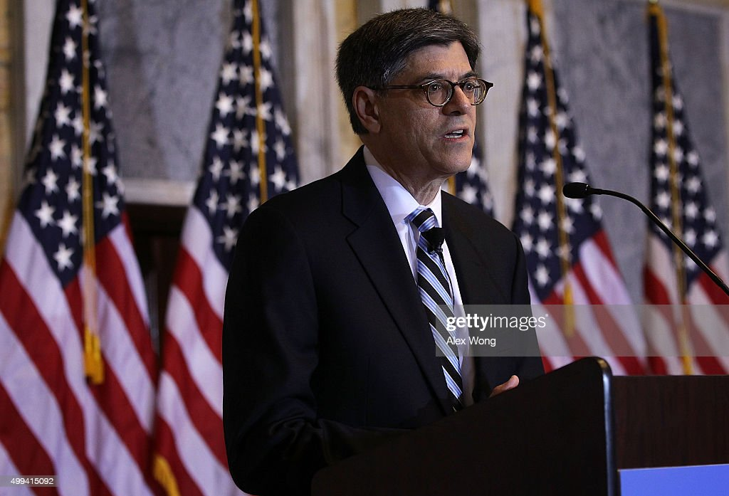 U.S. Secretary of the Treasury Jacob Lew delivers opening remarks during the Financial Inclusion Forum December 1, 2015 at the Treasury Department in Washington, DC. The Department of the Treasury and the U.S. Agency for International Development (USAID) held the forum to discuss 'Ways to foster greater access to safe and affordable financial services for everyone.'