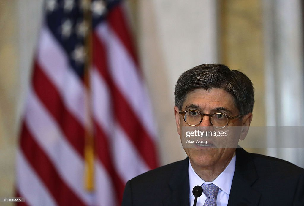 U.S. Secretary of the Treasury Jacob Lew speaks during a meeting of the Financial Stability Oversight Council June 21, 2016 in Washington, DC. The council held a meeting on its '2016 annual report, with an agenda that includes: an update on market developments; discussion of the Board of Governors of the Federal Reserve System's proposed rulemaking that would apply to certain insurance companies; and a discussion of the annual re-evaluation of the designation of a nonbank financial company.'