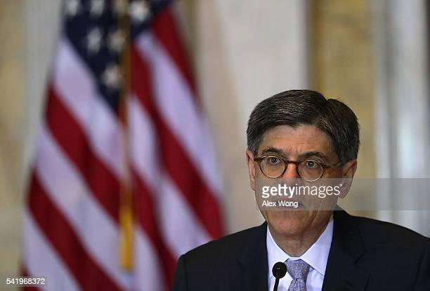 S Secretary of the Treasury Jacob Lew speaks during a meeting of the Financial Stability Oversight Council June 21 2016 in Washington DC The council...
