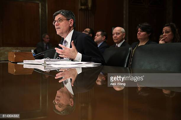 S Secretary of the Treasury Jacob Lew testifies during a hearing before the Financial Services and General Government Subcommittee of the Senate...