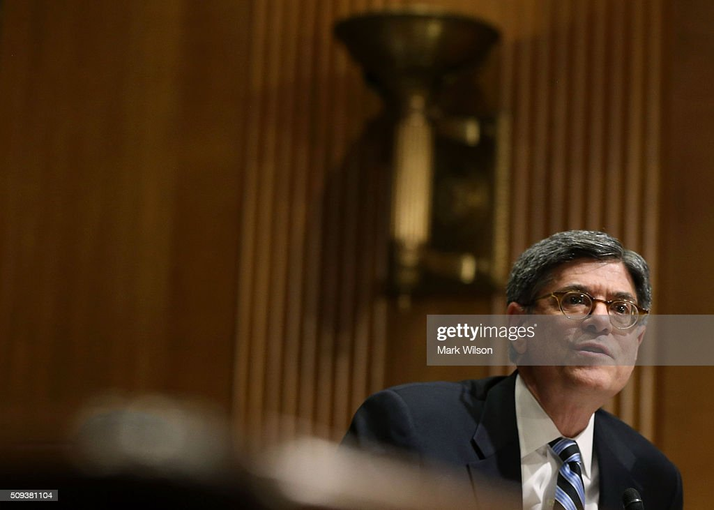 U.S. Secretary of the Treasury Jacob Lew testifies during a Senate Finance Committee hearing on Capitol Hill, February 10, 2016 in Washington, DC. The committee heard testimony from Secretary Lew on President Obama's Y2017 Budget request.