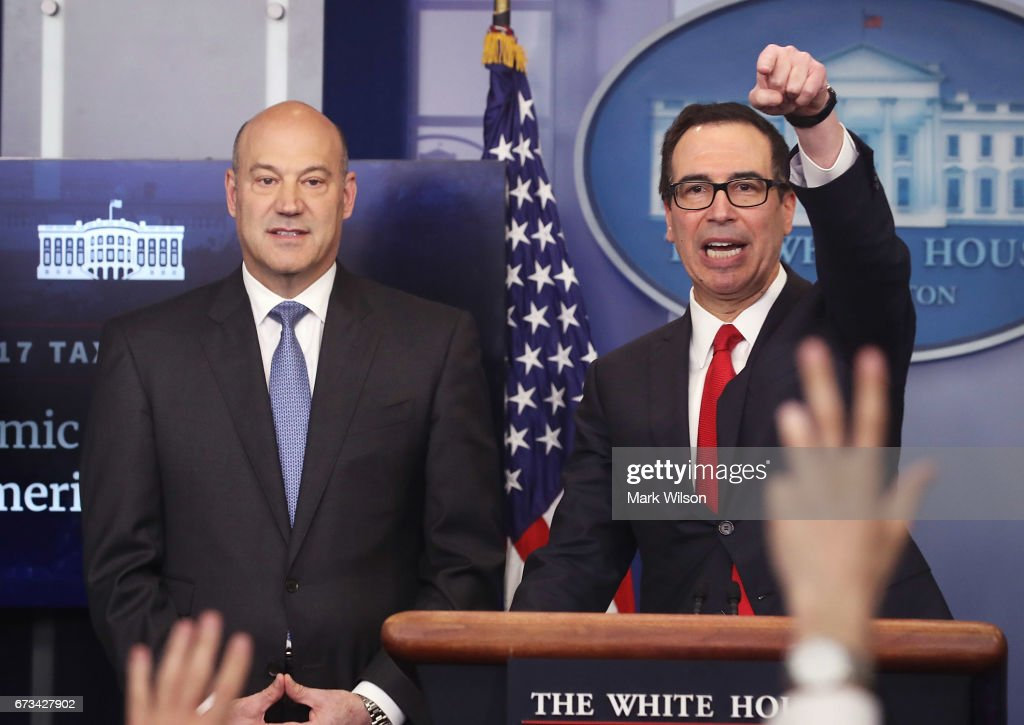 Secretary of the Treasury Steven Mnuchin (R) and National Economic Director Gary Cohn speak about President Donald Trump's new tax reform plan during a briefing at the James Brady Press Briefing Room at the White House on April 26, 2017 in Washington, DC.